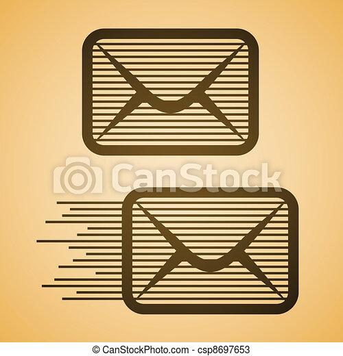 vector striped e-mail envelope icon - csp8697653