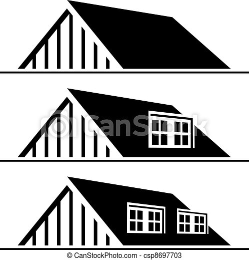 vector black house roof silhouette - csp8697703