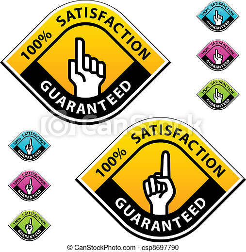 vector forefinger indicating the satisfaction guaranteed labels - csp8697790