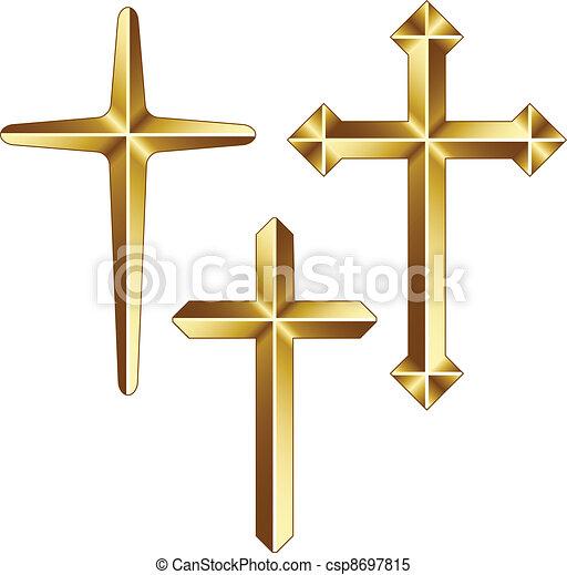 vector golden christian crosses - csp8697815