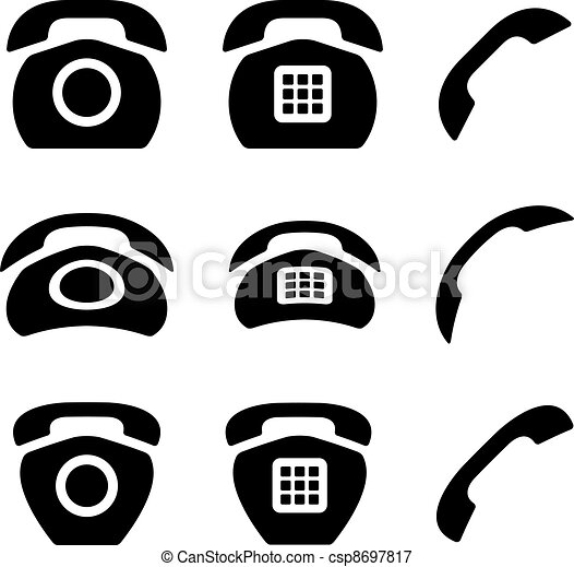 vector black old phone and receiver icons - csp8697817
