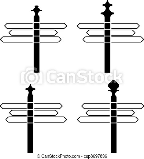vector directional signpost silhouettes - csp8697836