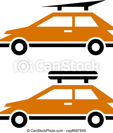 vector car with luggage roof rack icon - csp8697849