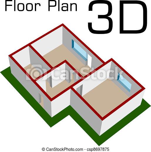 Clipart vektor von boden haus vektor plan leerer 3d for Boden clipart