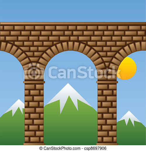 vector ancient stone bridge viaduct aqueduct - csp8697906