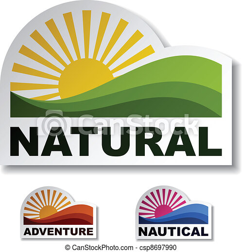 vector natural adventure nautical stickers - csp8697990