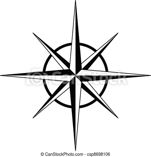 Black compass rose - vector Compass Rose Clipart Black And White