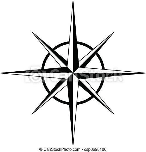 Black compass rose - vector - csp8698106