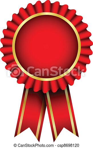 Vector red badge with ribbon - csp8698120