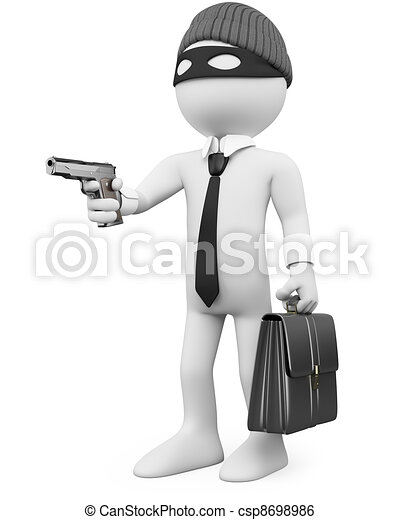 White-collar criminal with a gun - csp8698986