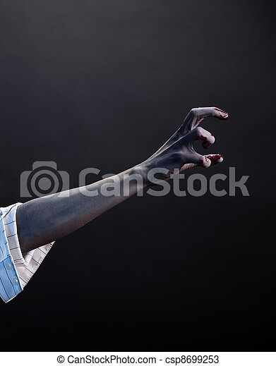 High contrast zombie hand, extreme body-art  - csp8699253