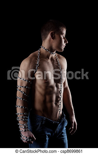 yong beauty naked man with chain on hand - csp8699861