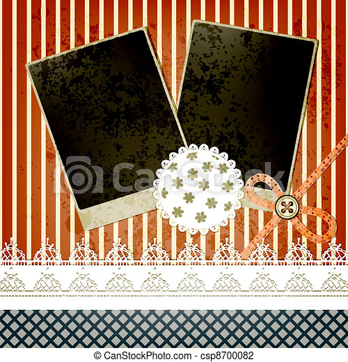 vector scrapbook template design with two frames, bow, button and laces, elements  can be used separately - csp8700082