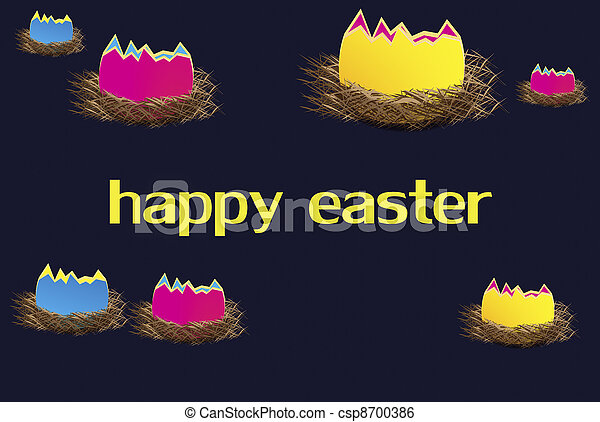 bright,Easter eggs in individual nests - csp8700386