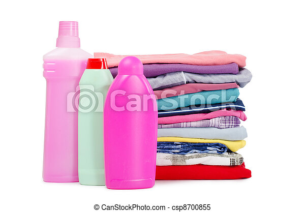 Heap of pure clothes with different detergent - csp8700855