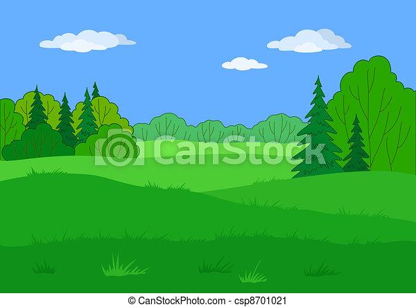 Landscape, summer forest glade - csp8701021