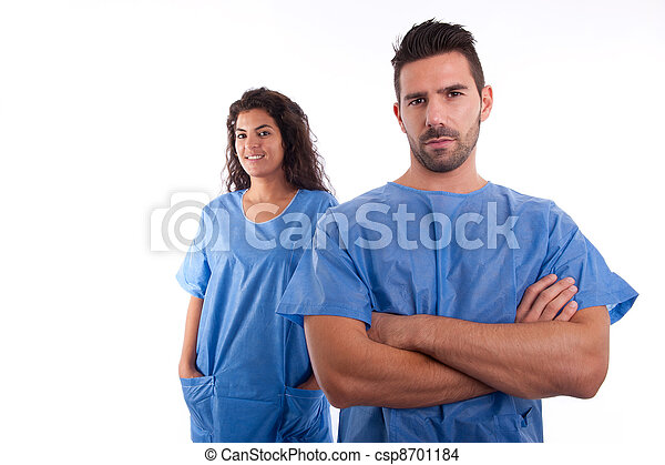 Two doctors in blue hospital uniforms - csp8701184