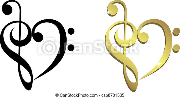 Heart formed of treble clef  - csp8701535