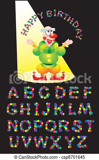 CONFETTI letters and clown (Happy B - csp8701645