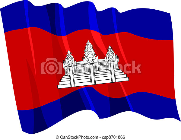 Political waving flag of Cambodia - csp8701866