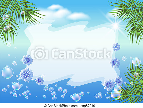 Seascape with palm branches, bubbles and flowers - csp8701911