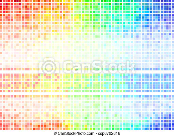 Multicolor abstract  tile background. Square pixel mosaic vector  - csp8702816