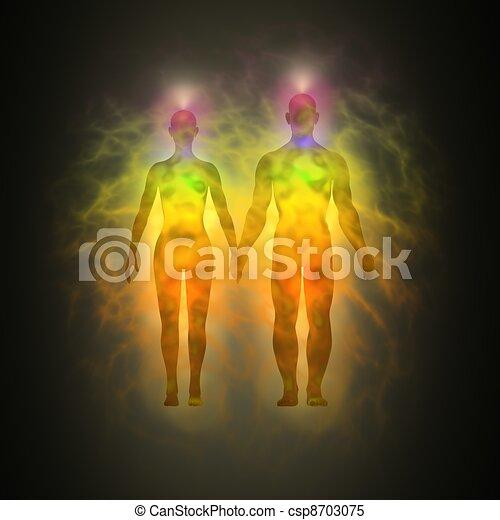 Human aura - woman and man - csp8703075