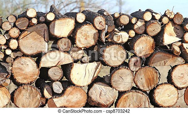 Pecan Logs 2 - csp8703242 - Stock Photo Of Pecan Logs 2 - Stacked Pecan Cord Wood For
