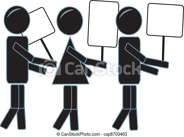 Simple Stick Figures Protesting - csp8703463