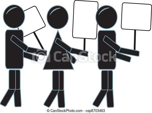 Simple Stick Figures Protesting - csp8703463