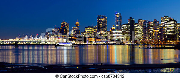 Vancouver BC City Skyline Reflection - csp8704342