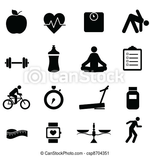 Fitness and diet icons - csp8704351
