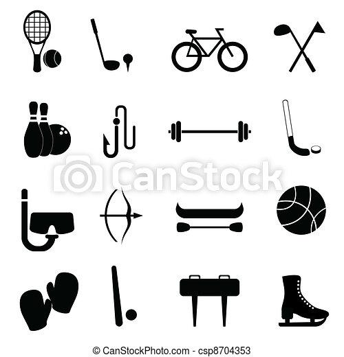 Vecteurs de sports loisir quipement ic ne ensemble csp8704353 recherch - Sport loisir equipement ...