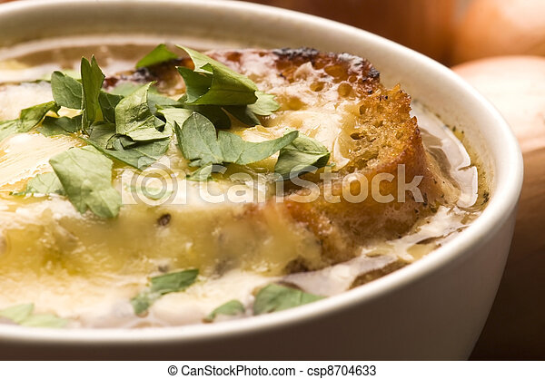 French onion soup with ingredients - csp8704633