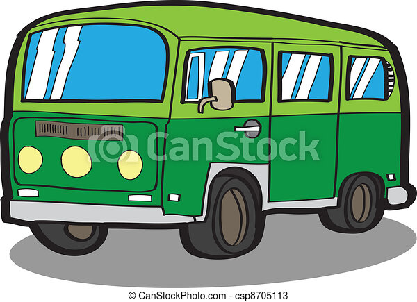 Minivan . Cartoon car - csp8705113