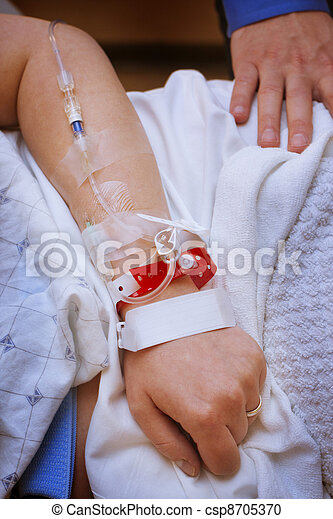 Patient with an infusion in the arm - csp8705370