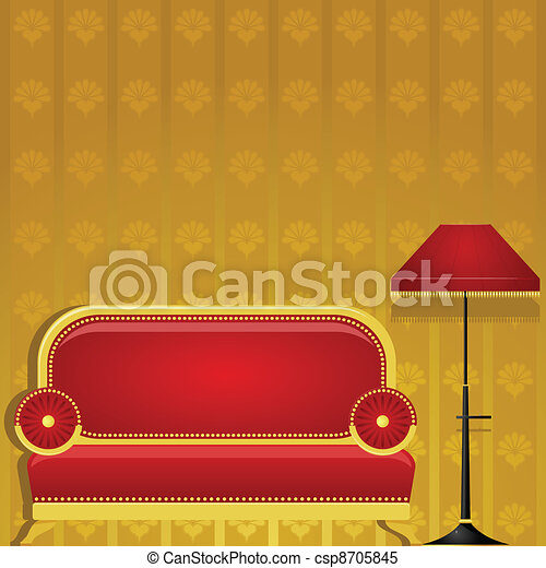 Vector illustration of a sofa and a floor lamp - csp8705845