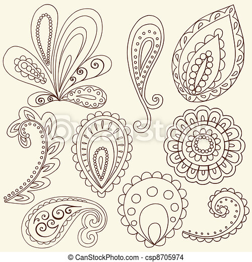 eps vector of henna paisley tattoo doodles vector henna mehndi tattoo csp8705974 search. Black Bedroom Furniture Sets. Home Design Ideas