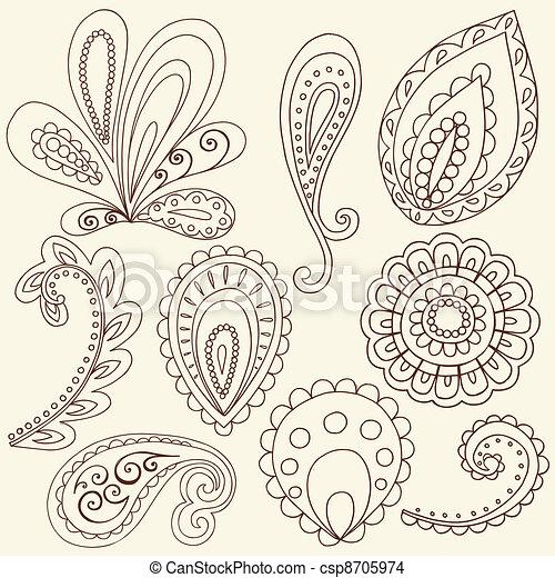 eps vector of henna paisley tattoo doodles vector henna mehndi tattoo csp8705974 search. Black Bedroom Furniture Sets. Home Design Ideas
