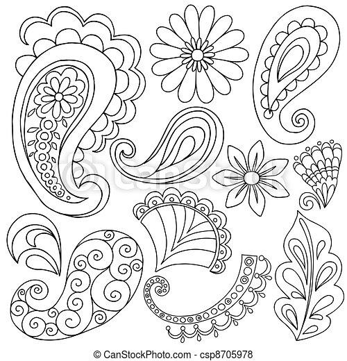 Henna Paisley Tattoo Doodles Vector - csp8705978