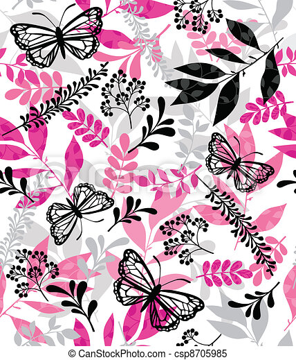 Butterfly and Leaf Repeat Pattern - csp8705985