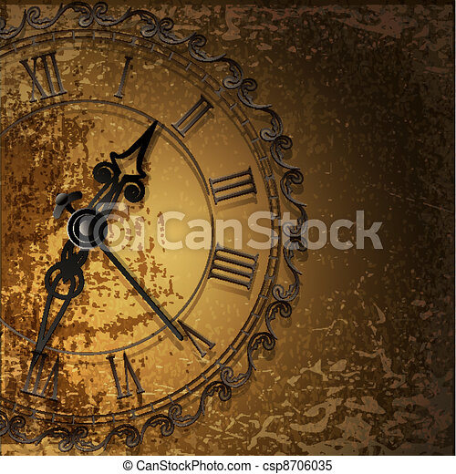 grunge abstract background with antique clocks - csp8706035