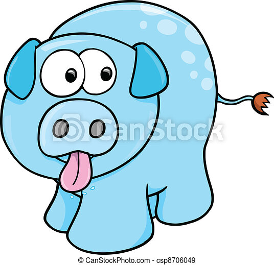 Silly Farm Pig Vector - csp8706049