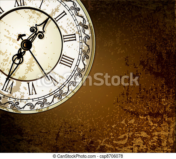 Vector grunge abstract background with antique clocks - csp8706078