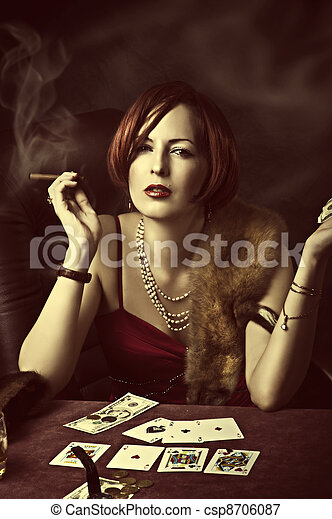 Fashion portrait of young adult woman - csp8706087