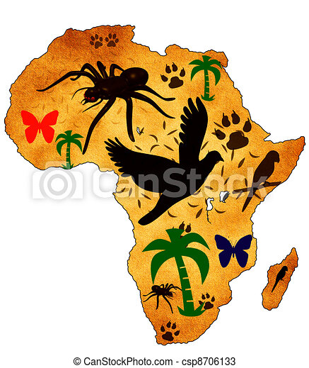 Stock Illustration of Map of Africa on the old background ...