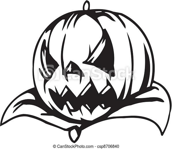 Vector clip art de conjunto halloween ilustraci n - Calabazas de halloween de miedo ...