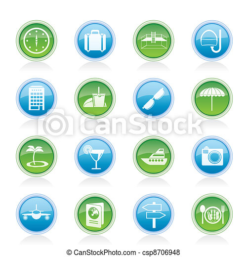 travel, trip and tourism icons - csp8706948