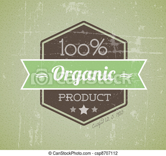 Old vector retro vintage grunge label for organic product - csp8707112