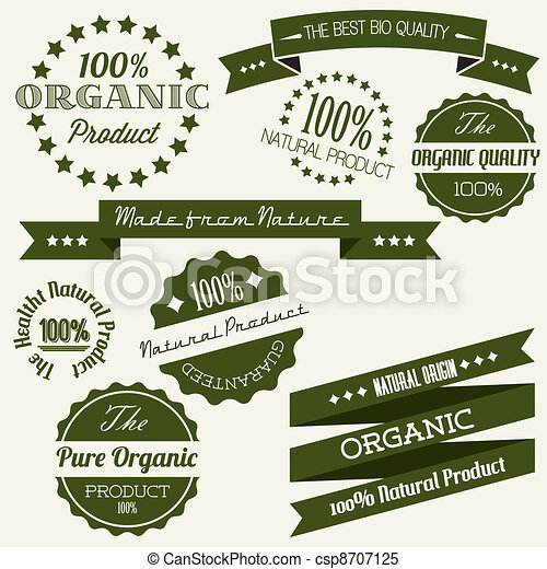 Vector Old retro vintage elements for organic natural items - csp8707125
